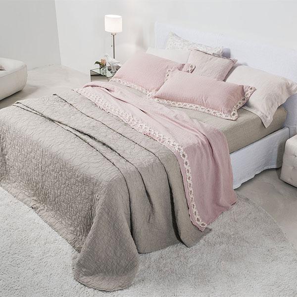 La fabbrica del lino copriletto con ricamo rosone - La fabbrica del lino letto ...